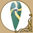 Norman  Wooden Kite Shield in Green and Yellow